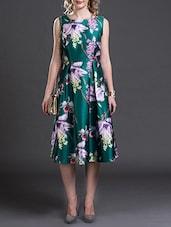 green floral printed satin skater dress - online shopping for Dresses e9f239d15