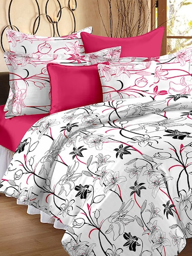 186 TC 100% Cotton White 1 Double Bedsheet With 2 Pillow Cover - 12587287 - Standard Image - 1
