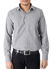 solid grey cotton formal shirt -  online shopping for formal shirts
