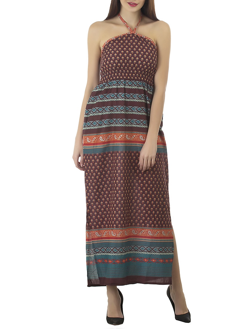 3177cc122ad4 Buy Brown Cotton Maxi Dress by Kurti s By Menka - Online shopping for  Dresses in India