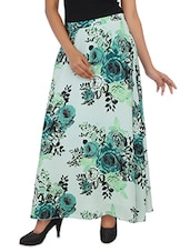 Light Blue Floral Printed Polyester Skirt - By