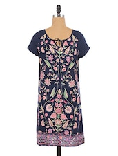 Navy Blue Floral Printed Viscose Dress - By