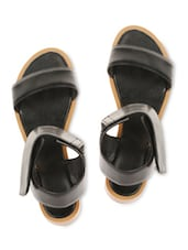 Black Faux Leather Sandals With Velcro Closure - By