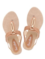 Beige Faux Leather Sandals With Stretchable Loop Closure - By