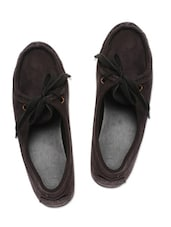 Black Suede Loafer With Adjustable Loop Closure - By
