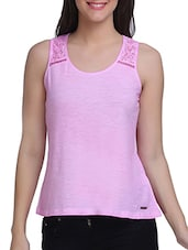 Pink Cotton Sleeveless Solid Top - By