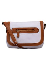 White Leatherette Sling Bag - By