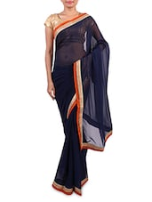 Blue  Georgette Embroidered Saree - By