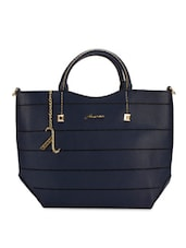 Navy Blue Faux Leather Handbag - By