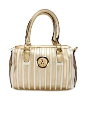 White And Gold Faux Leather Handbag - By