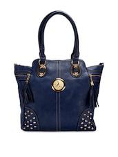 Navy Blue Embellished Faux Leather Handbag - By