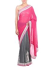 Pink Georgette Zari Embroidered Saree - By