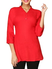 Orange Plain Cotton Lycra Short Kurti - By