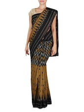 Black And Mustard Printed Ikat Cotton Saree - By