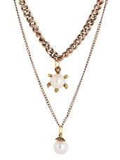 Gold Embellished Chain Necklace - By