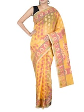 Yellow Kora Art Silk Jacquard Saree - By