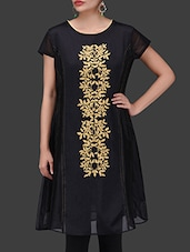 Black Embroidered Chanderi Silk Dress - By