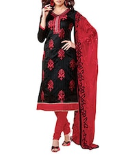 Black & Red Colour Embroidered Chanderi Unstitched Suit Piece - By