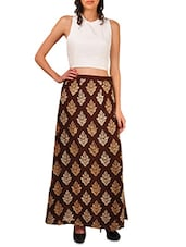 Brown Zari Embroidered Long Skirt - By