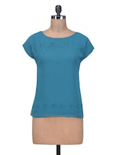 Teal Blue Top With Cutwork Detail - By