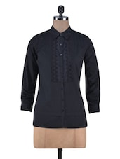 Schiffli Embroidered Black Cotton Shirt With Pintuck Detail - By