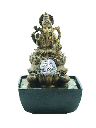 Lord Ganesha with Crystal Ball Led Water Fountain -  online shopping for Fountains