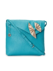 Turquoise Textured Leatherette Sling Bag - By