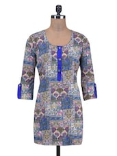 Blue Cotton Printed Kurti With Non-functional Buttons - By