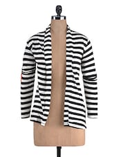 Black And White Cotton Printed Shrug - By