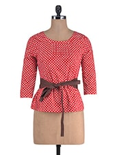 Red And White Cotton Polka Dots Print Top - By