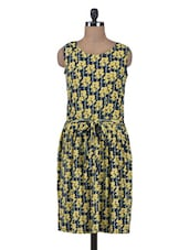 Multicolour Printed Cotton Crepe Pleated Dress - By