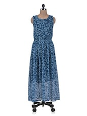 Blue Printed Georgette Maxi Dress - By
