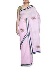 Pink Net Sari - By
