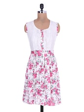 White Floral Printed Dress With Lace Yoke - By