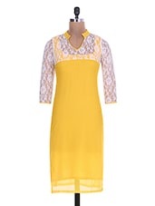Yellow And White Cotton Georgette Kurta - By
