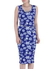 Blue And White Printed Polyester Dress - By