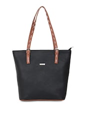 Black Leatherette Handbag With Buckled Top Handles - By