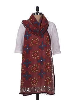 Brick Red Embroidered Dupatta - Vayana