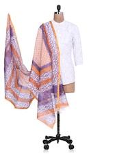 Blue Chanderi Silk Zari Printed Dupatta - By