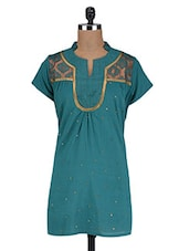Embellished And Embroidered Teal Cotton Top - By
