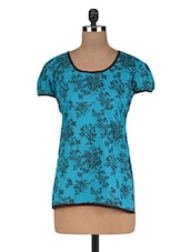 Floral Printed Blue Cotton Top - By