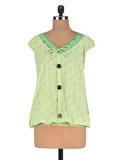 Green Cotton Half Sleeveless Kurti With Thread Work On Neck - By