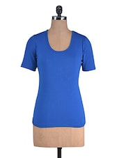 Royal Blue Cotton Lycra Half Sleeves Top - By