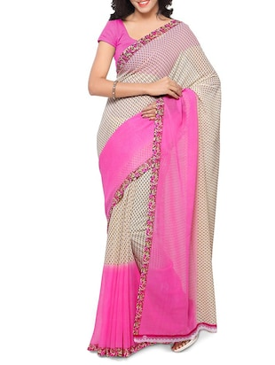 5db6aa93b6bb4 Buy Pink None Saree With Blouse for Women from Rajnandini for ₹534 at 33%  off