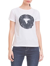 white printed polyester tee -  online shopping for Tees