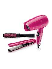 Philips HP8647/40 Hair Straightener + Dryer And Brush Combo For Women - By