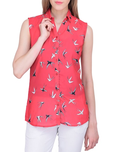 solid red printed shirt - 12755869 - Standard Image - 1