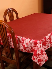 Dekor World Floral Printed Maroon Table Cover (Pack Of 1) - By
