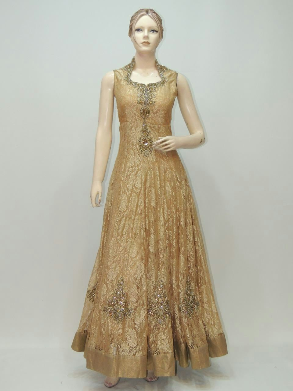 Buy Heavy Golden Long Dress Gown by Maa Durga Saree Creations ...
