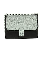 Black Shimmer Faux Leather Sling Bag - By